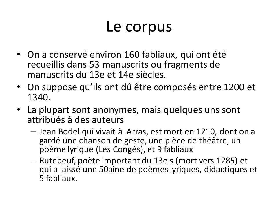 Le corpus On a conservé environ 160 fabliaux, qui ont été recueillis dans 53 manuscrits ou fragments de manuscrits du 13e et 14e siècles. On suppose q