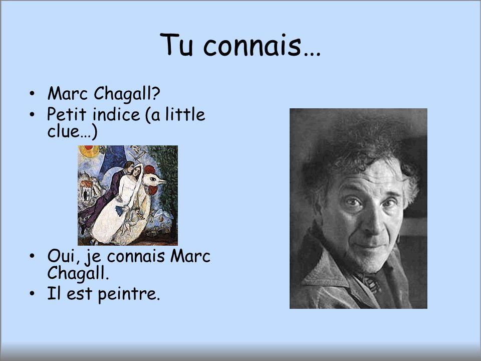 Tu connais… Marc Chagall? Petit indice (a little clue…) Oui, je connais Marc Chagall. Il est peintre.