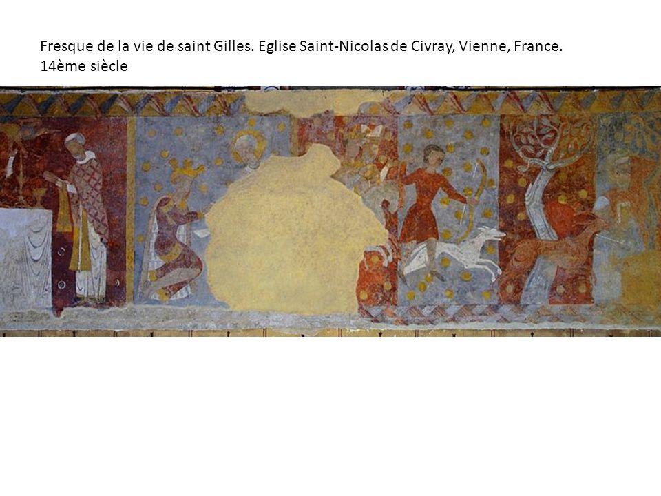 Fresque de la vie de saint Gilles. Eglise Saint-Nicolas de Civray, Vienne, France. 14ème siècle