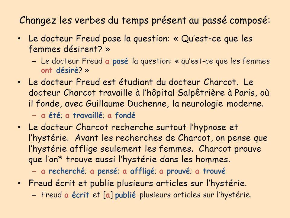Changez les verbes du temps présent au passé composé: Le docteur Freud pose la question: « Quest-ce que les femmes désirent? » – Le docteur Freud a po