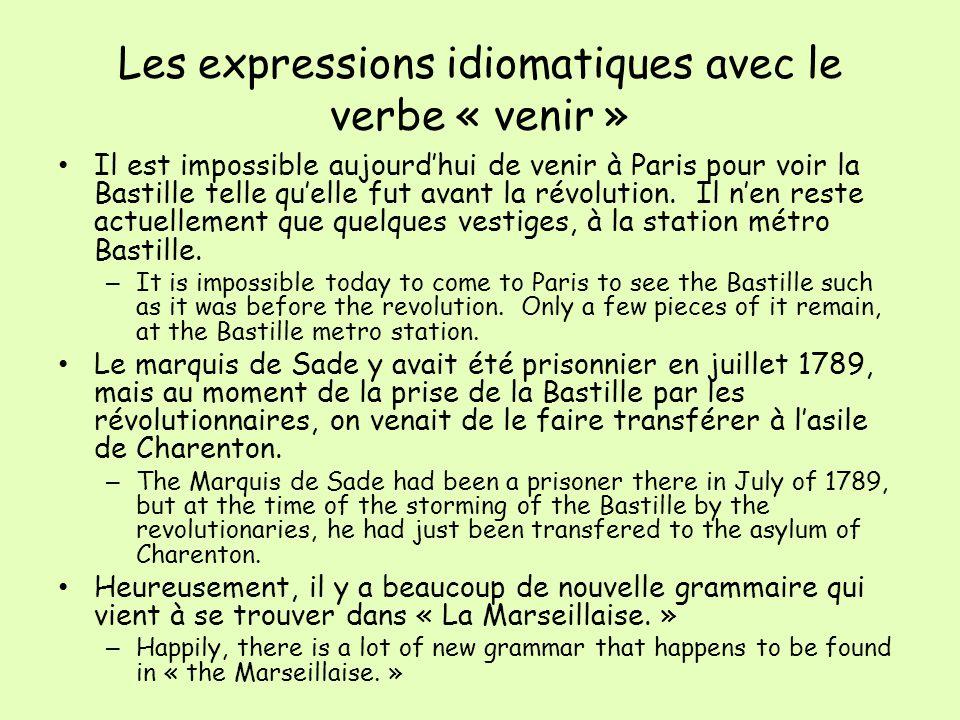 Les expressions idiomatiques avec le verbe « venir » Il est impossible aujourdhui de venir à Paris pour voir la Bastille telle quelle fut avant la révolution.