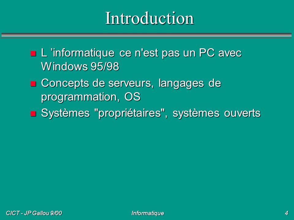 CICT - JP Gallou 9/00 Informatique5 Poste de travail/Serveurs n Poste, utilisé par une personne: PC Windows, Linux, MacIntosh n Client-serveur n Serveurs de fichiers, de logiciels, d impression, autres (WNT, Linux ou Unix par exemple) n Serveurs et postes reliés en réseau (TCP/IP: Internet, autres) n Serveurs multi-utilisateurs (WNT-TSE, Unix)