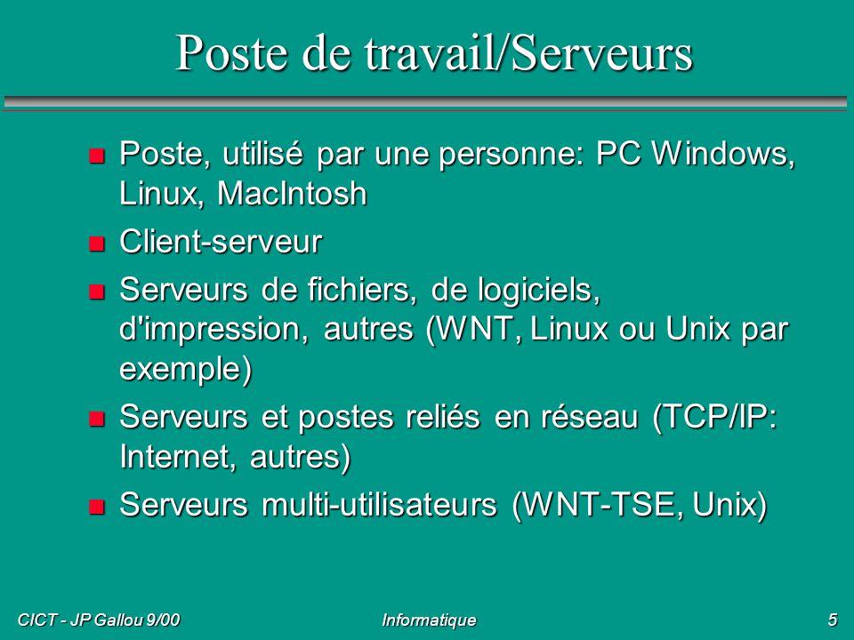 CICT - JP Gallou 9/00 Informatique6 Terminaux n Utilisateurs connectés sur un terminal n Terminal en mode ligne (VT100) n Terminal à interface graphique (X) n Terminaux Internet n Etape de connexion (user/mot de passe) n Emulateurs de terminaux sur PC