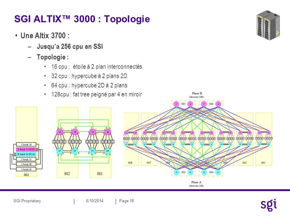 || 6/10/2014Page 18SGI Proprietary SGI ALTIX 3000 : Topologie Une Altix 3700 : – Jusqua 256 cpu en SSI – Topologie : 16 cpu : étoile à 2 plan intercon
