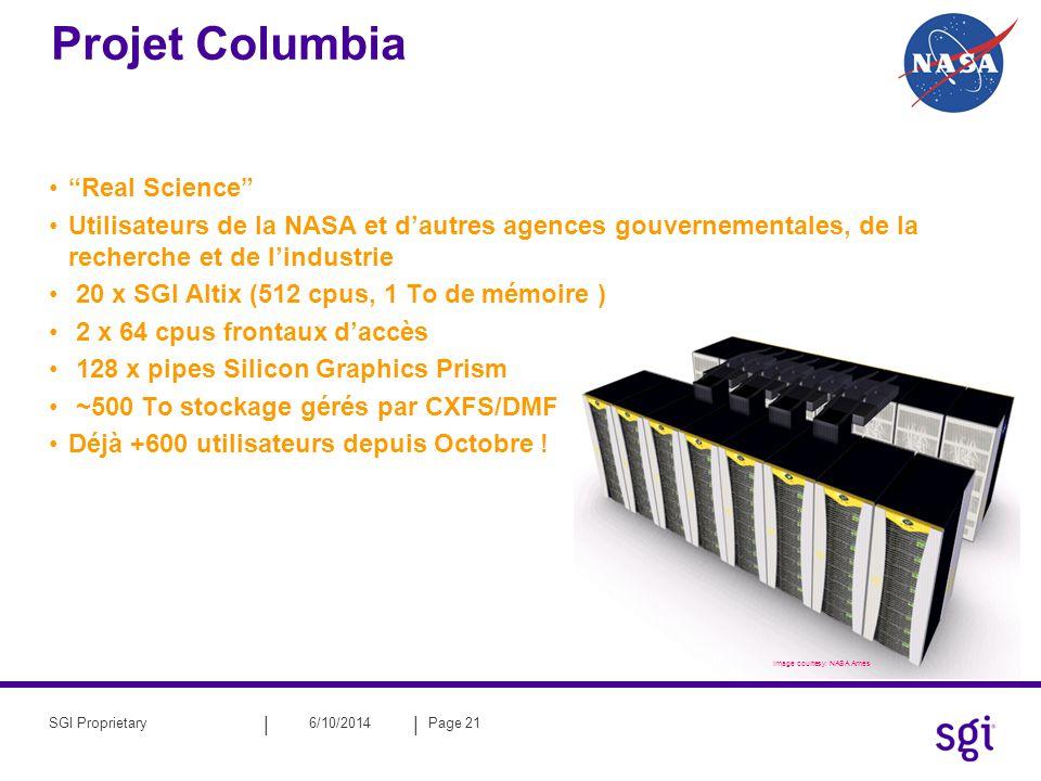 || 6/10/2014Page 21SGI Proprietary Image courtesy: NASA Ames Projet Columbia Real Science Utilisateurs de la NASA et dautres agences gouvernementales,