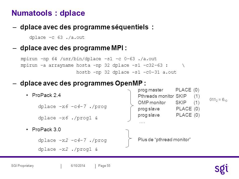 || 6/10/2014Page 55SGI Proprietary Numatools : dplace –dplace avec des programme séquentiels : dplace -c 63./a.out –dplace avec des programme MPI : mp