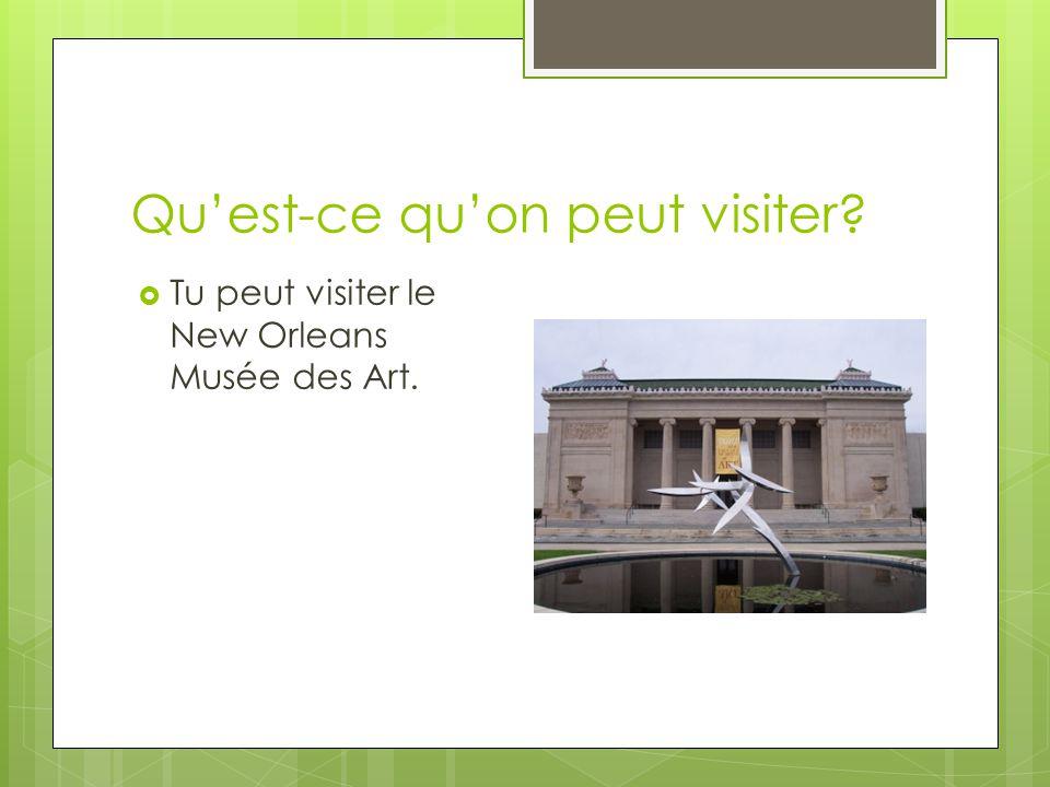 Quest-ce quon peut visiter? Tu peut visiter le New Orleans Musée des Art.