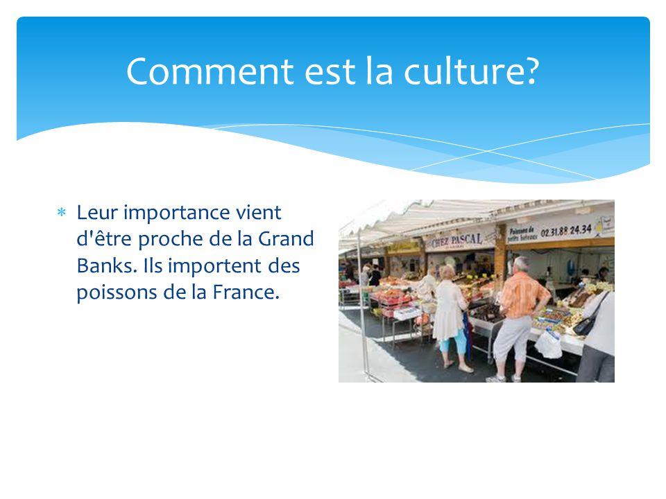 Comment est la culture? Leur importance vient d'être proche de la Grand Banks. Ils importent des poissons de la France.
