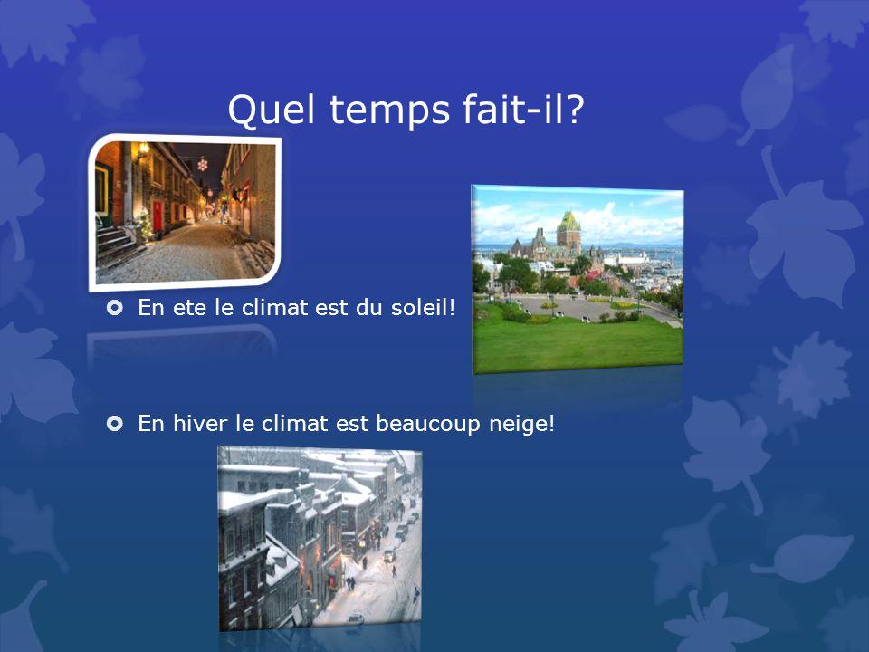 Quel temps fait-il En ete le climat est du soleil! En hiver le climat est beaucoup neige!