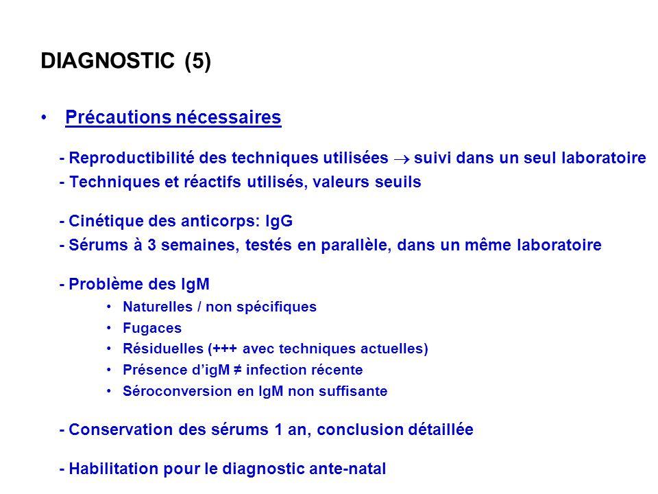 DIAGNOSTIC (5) Précautions nécessaires - Reproductibilité des techniques utilisées suivi dans un seul laboratoire - Techniques et réactifs utilisés, v