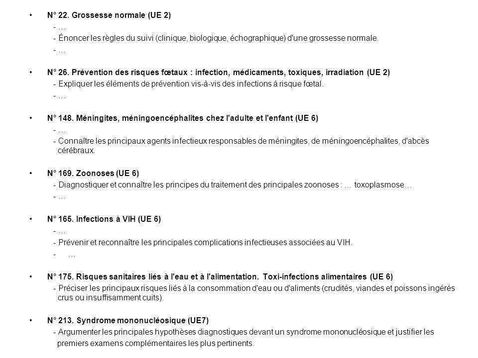 N° 22. Grossesse normale (UE 2) - … - Énoncer les règles du suivi (clinique, biologique, échographique) d'une grossesse normale. - … N° 26. Prévention