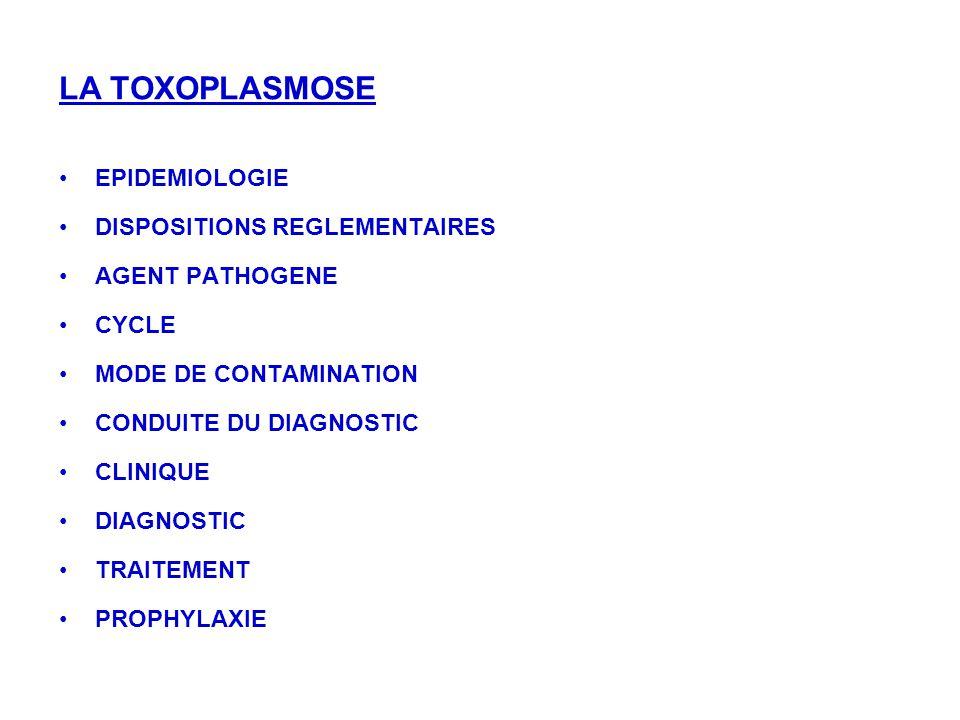 Infection cosmopolite Séroprévalence denviron 45% en France (en baisse) 200 à 300 000 nouvelles infections / an 10% symptomatiques 2700 chez les femmes enceintes Gravité: - Toxoplasmoses congénitales - Risque de réactivation si immunodépression Dispositions réglementaires EPIDEMIOLOGIE