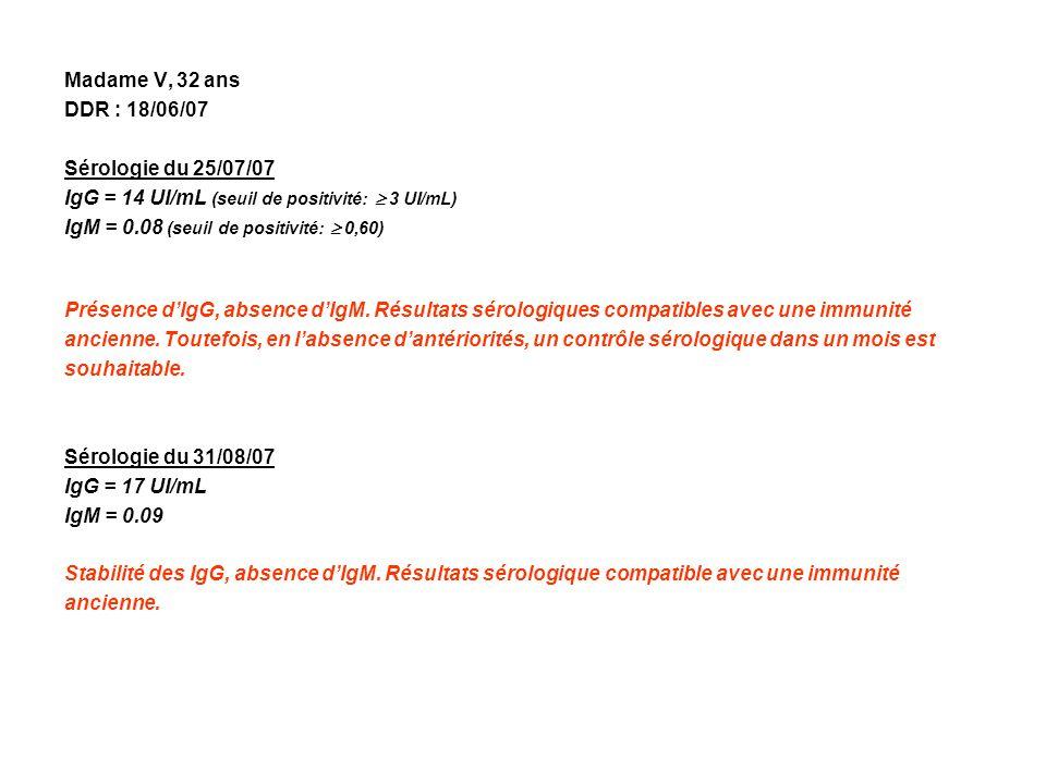 Madame V, 32 ans DDR : 18/06/07 Sérologie du 25/07/07 IgG = 14 UI/mL (seuil de positivité: 3 UI/mL) IgM = 0.08 (seuil de positivité: 0,60) Présence dI