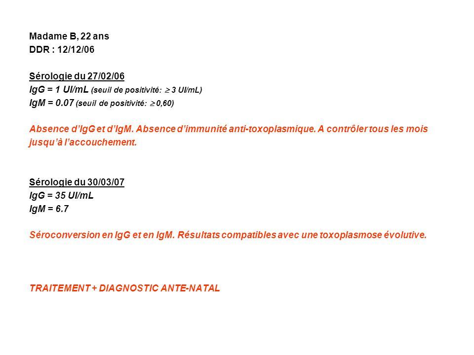 Madame B, 22 ans DDR : 12/12/06 Sérologie du 27/02/06 IgG = 1 UI/mL (seuil de positivité: 3 UI/mL) IgM = 0.07 (seuil de positivité: 0,60) Absence dIgG