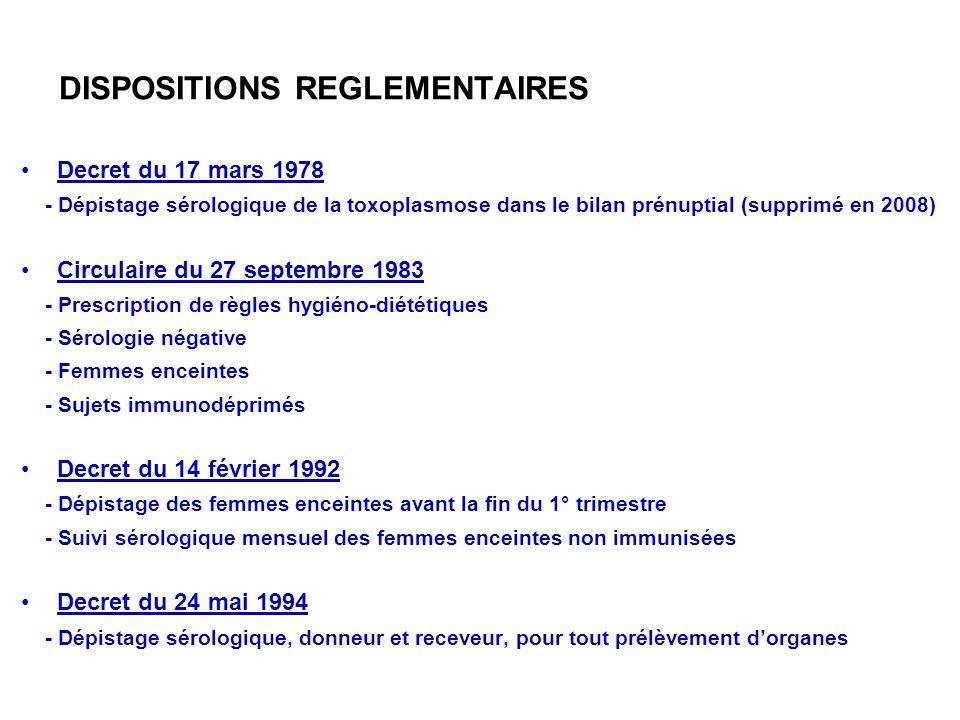 DISPOSITIONS REGLEMENTAIRES Decret du 17 mars 1978 - Dépistage sérologique de la toxoplasmose dans le bilan prénuptial (supprimé en 2008) Circulaire d