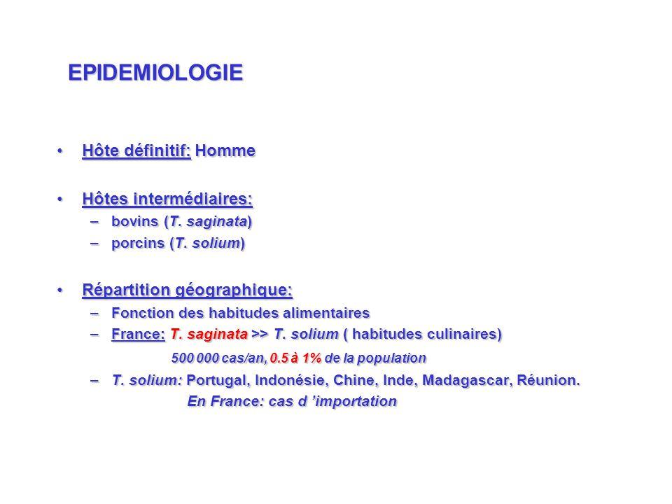 Hôte définitif: HommeHôte définitif: Homme Hôtes intermédiaires:Hôtes intermédiaires: –bovins (T. saginata) –porcins (T. solium) Répartition géographi