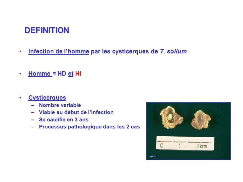 Infection de lhomme par les cysticerques de T. soliumInfection de lhomme par les cysticerques de T. solium Homme = HD et HIHomme = HD et HI Cysticerqu