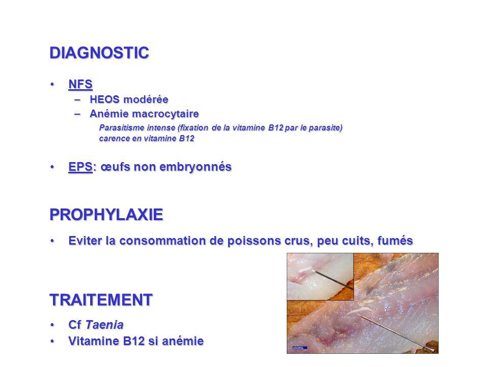 NFSNFS –HEOS modérée –Anémie macrocytaire Parasitisme intense (fixation de la vitamine B12 par le parasite) carence en vitamine B12 EPS: œufs non embryonnésEPS: œufs non embryonnés Eviter la consommation de poissons crus, peu cuits, fumésEviter la consommation de poissons crus, peu cuits, fumés Cf TaeniaCf Taenia Vitamine B12 si anémieVitamine B12 si anémie DIAGNOSTIC PROPHYLAXIE TRAITEMENT