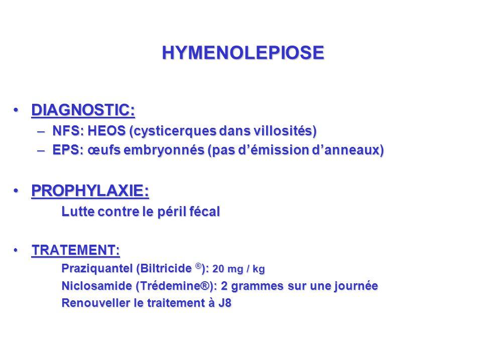 DIAGNOSTIC:DIAGNOSTIC: –NFS: HEOS (cysticerques dans villosités) –EPS: œufs embryonnés (pas démission danneaux) PROPHYLAXIE:PROPHYLAXIE: Lutte contre