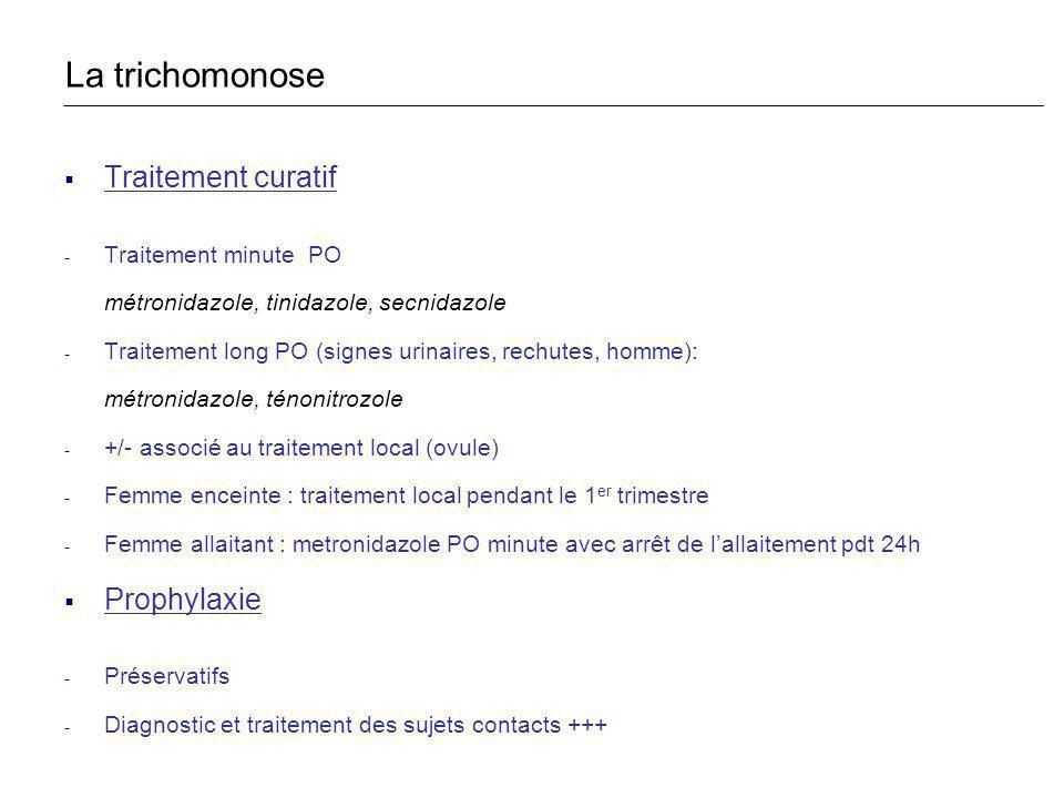 Traitement curatif - Traitement minute PO métronidazole, tinidazole, secnidazole - Traitement long PO (signes urinaires, rechutes, homme): métronidazo