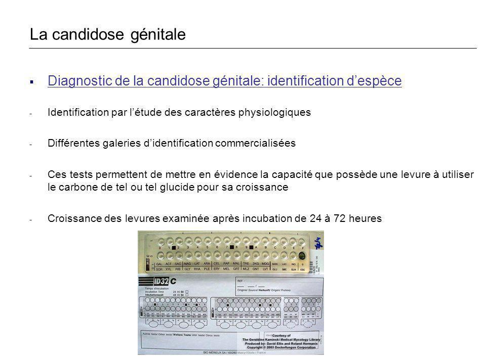 Diagnostic de la candidose génitale: identification despèce - Identification par létude des caractères physiologiques - Différentes galeries didentifi