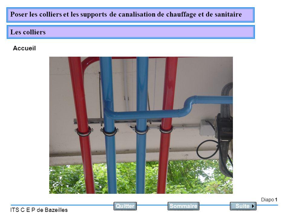 Diapo 1 ITS C E P de Bazeilles Poser les colliers et les supports de canalisation de chauffage et de sanitaire Les colliers Accueil