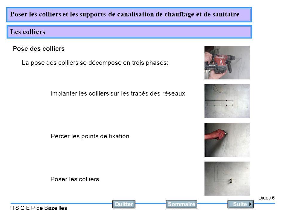 Diapo 6 ITS C E P de Bazeilles Poser les colliers et les supports de canalisation de chauffage et de sanitaire Les colliers Pose des colliers La pose