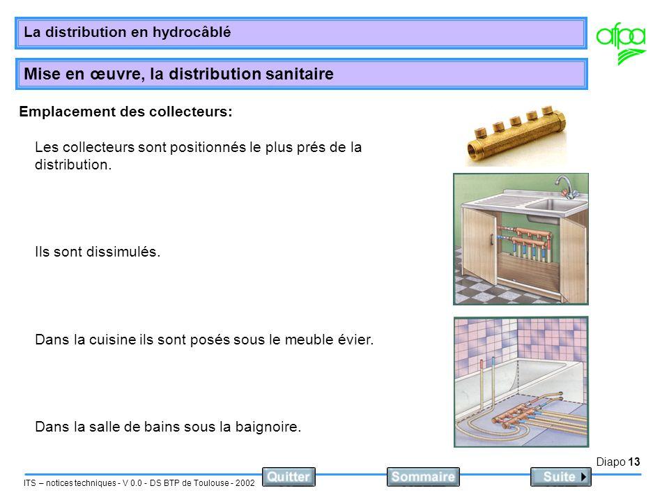 Diapo 14 ITS – notices techniques - V 0.0 - DS BTP de Toulouse - 2002 La distribution en hydrocâblé Mise en œuvre, la distribution sanitaire Pose et raccordement des collecteurs: Le nombre des sorties varie de 3 à 10 elles sont en diamètre 15/21 male ou femelles dans ce cas ont y monte directement de raccords PER.