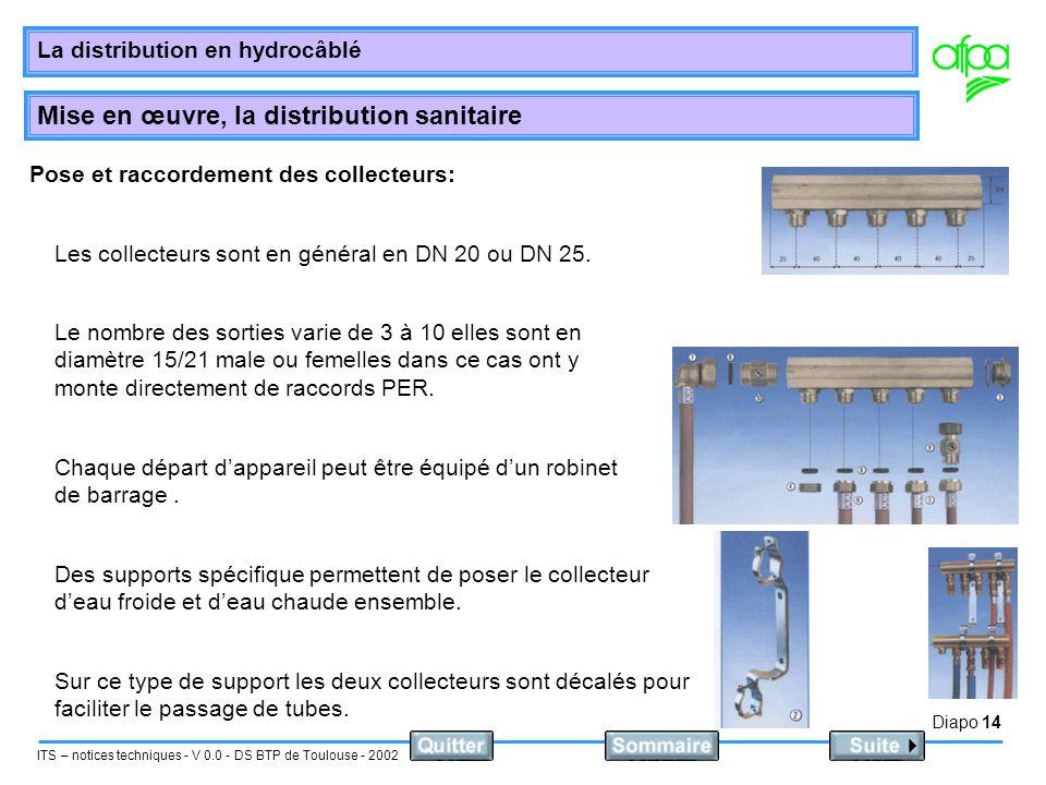 Diapo 15 ITS – notices techniques - V 0.0 - DS BTP de Toulouse - 2002 La distribution en hydrocâblé Mise en œuvre, la distribution sanitaire Hauteur de pose des collecteurs : Il faudra les poser à une hauteur suffisante (50 cm).