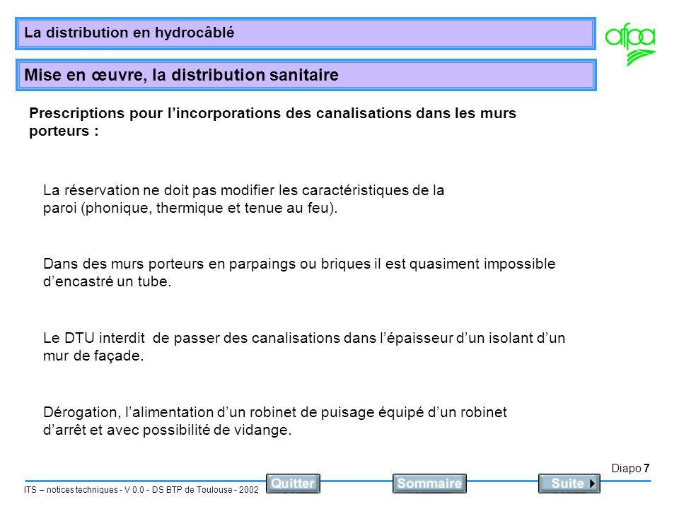 Diapo 8 ITS – notices techniques - V 0.0 - DS BTP de Toulouse - 2002 La distribution en hydrocâblé Mise en œuvre, la distribution sanitaire Incorporation des canalisation dans les cloison traditionnelles : Les canalisation peuvent être engravées.