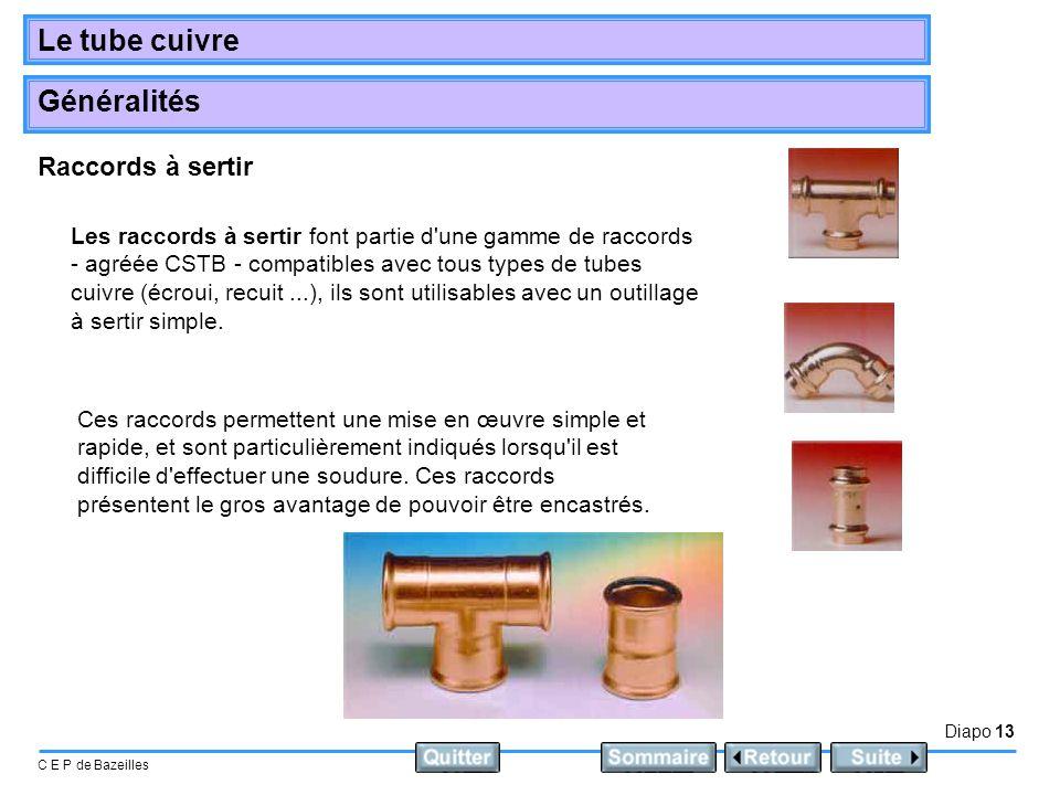 Diapo 13 C E P de Bazeilles Le tube cuivre Généralités Raccords à sertir Les raccords à sertir font partie d'une gamme de raccords - agréée CSTB - com