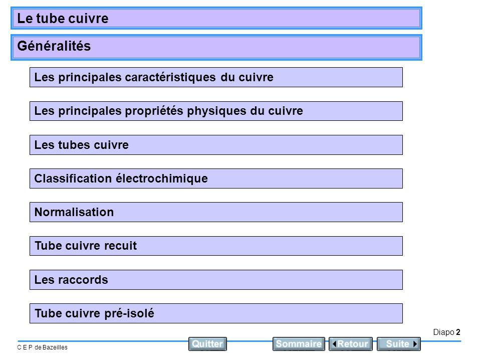 Diapo 2 C E P de Bazeilles Le tube cuivre Généralités Les principales propriétés physiques du cuivre Les principales caractéristiques du cuivre Les tu