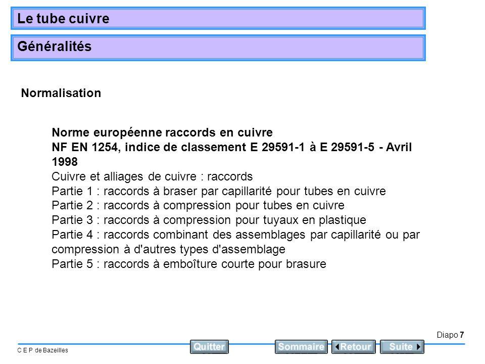 Diapo 7 C E P de Bazeilles Le tube cuivre Généralités Norme européenne raccords en cuivre NF EN 1254, indice de classement E 29591-1 à E 29591-5 - Avr