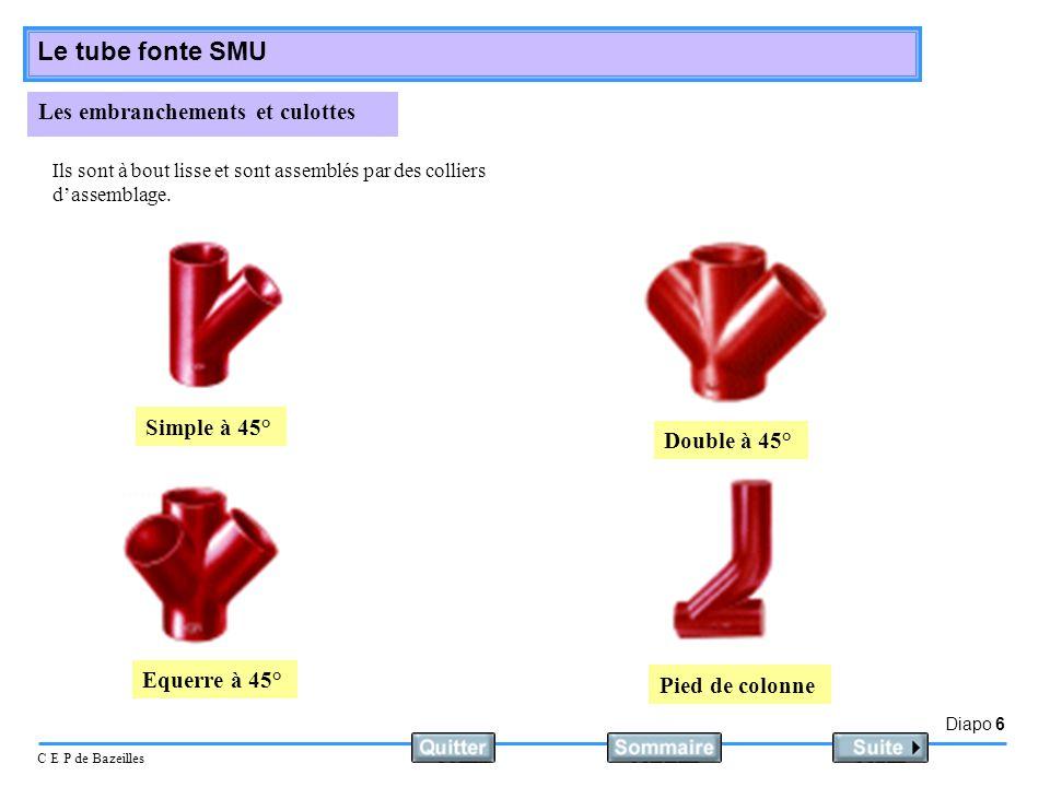 Diapo 6 C E P de Bazeilles Le tube fonte SMU Les embranchements et culottes Ils sont à bout lisse et sont assemblés par des colliers dassemblage. Simp