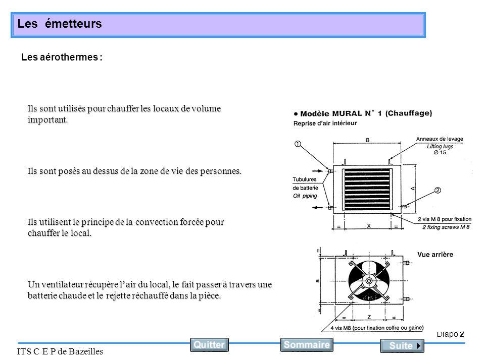 Diapo 2 ITS C E P de Bazeilles Les émetteurs Les aérothermes : Ils sont utilisés pour chauffer les locaux de volume important. Ils sont posés au dessu