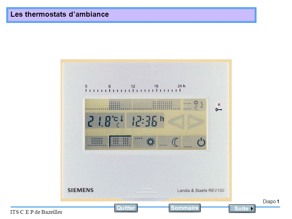 Diapo 1 ITS C E P de Bazeilles Les thermostats dambiance