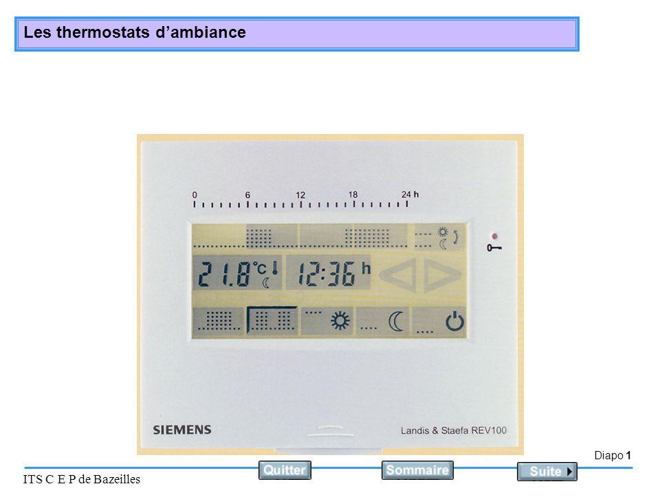 Diapo 2 ITS C E P de Bazeilles Les thermostats dambiance Principe Le thermostat dambiance est un système tout ou rien.