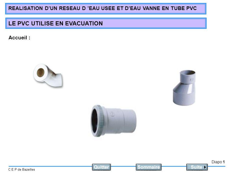 Diapo 1 C E P de Bazeilles REALISATION DUN RESEAU D EAU USEE ET DEAU VANNE EN TUBE PVC LE PVC UTILISE EN EVACUATION Accueil :