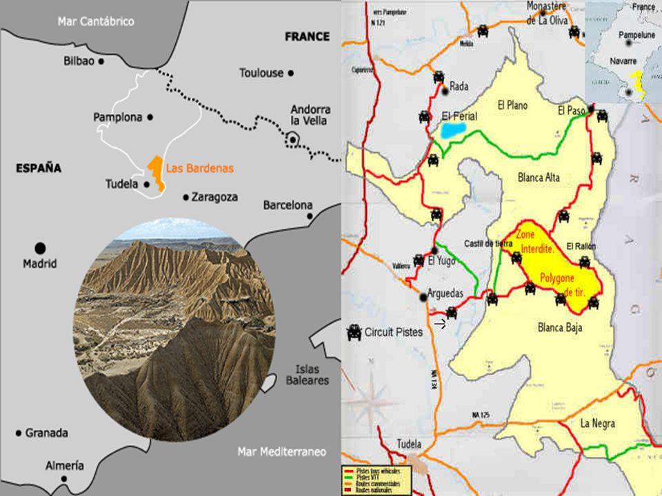 Bardenas Reales Dans la région de la Ribera au sud-est de la Navarre à 80 km de Pampelune se situe le parc naturel des Bardenas qui s étend sur 42500 hectares.