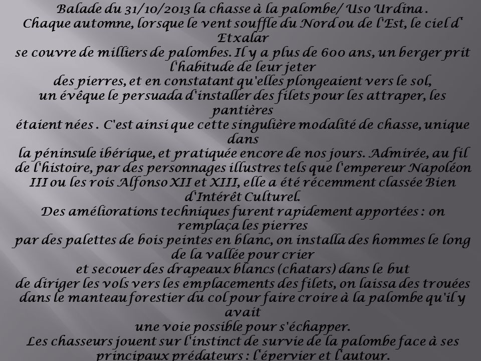 Balade du 31/10/2013 la chasse à la palombe/ Uso Urdina.