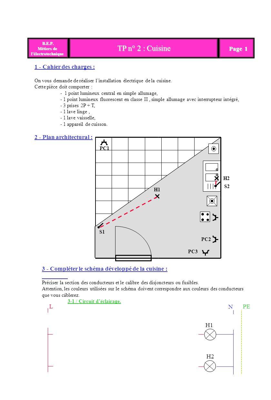 TP n° 2 : Cuisine B.E.P. B.E.P. Métiers de lélectrotechnique Page 1 1 - Cahier des charges : On vous demande de réaliser linstallation électrique de l