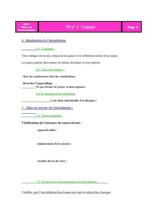 TP n° 2 : Cuisine B.E.P. B.E.P. Métiers de lélectrotechnique Page 4 6 - Réalisation de linstallation. 6-1 / Contexte : Votre collègue de travail a déj