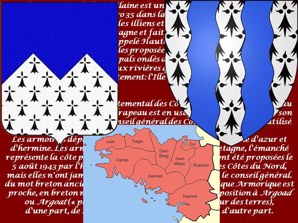 Le drapeau de la Bretagne, dans sa version moderne (1923) est le Gwenn ha Du (en français : « Blanc et Noir »). Le quart supérieur gauche reprend les