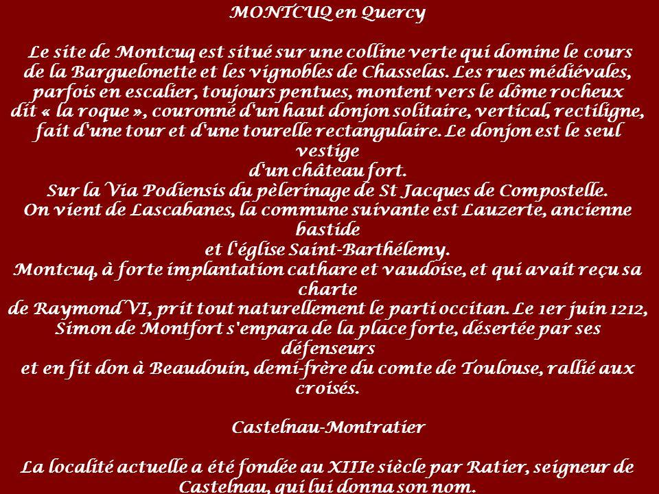 MONTCUQ en Quercy Le site de Montcuq est situé sur une colline verte qui domine le cours de la Barguelonette et les vignobles de Chasselas.