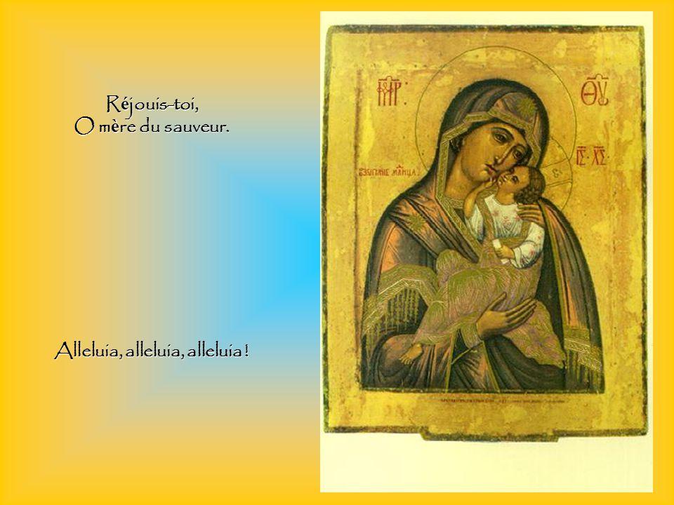 Réjouis-toi, qui as part aux miracles du Christ, Réjouis-toi, miracle proclamé par les anges.