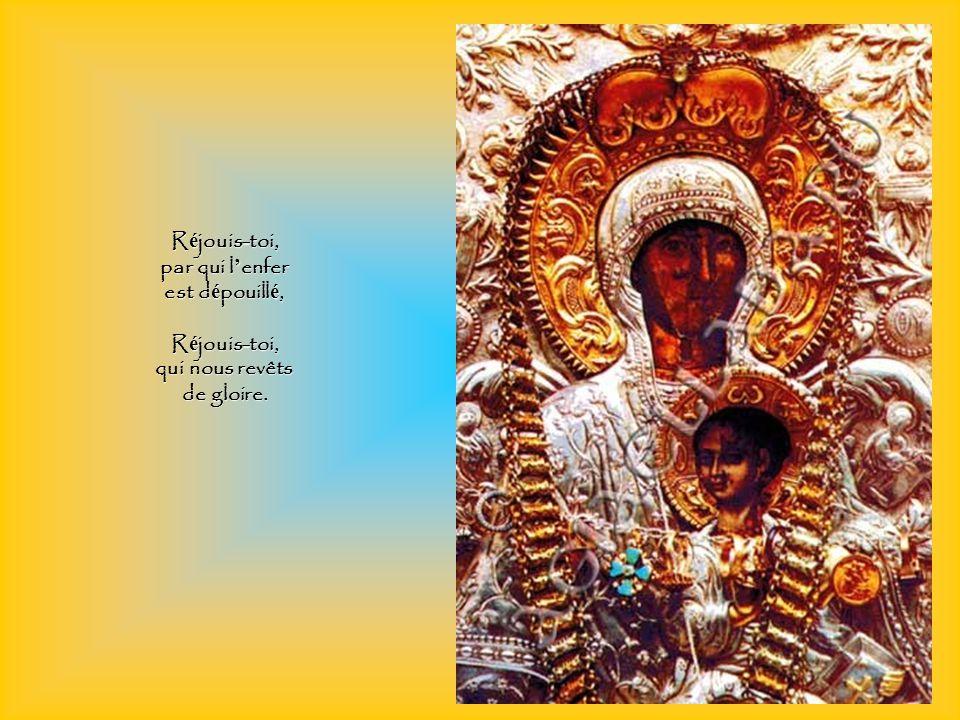 R é jouis-toi, qui rends in é branlable notre foi, R é jouis-toi, qui sais la splendeur de la grâce, R é jouis-toi, qui sais la splendeur de la grâce,