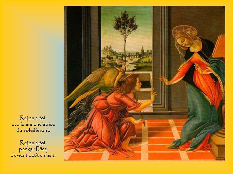 Réjouis-toi, car tu deviens le trône et le palais du roi, Réjouis-toi, porteuse de Celui qui porte tout.