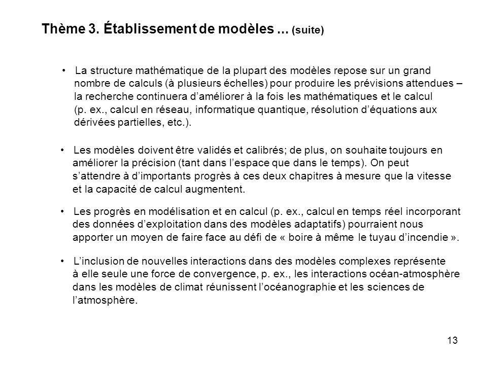 13 La structure mathématique de la plupart des modèles repose sur un grand nombre de calculs (à plusieurs échelles) pour produire les prévisions attendues – la recherche continuera daméliorer à la fois les mathématiques et le calcul (p.