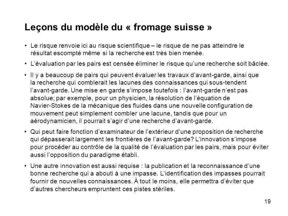 19 Leçons du modèle du « fromage suisse » Le risque renvoie ici au risque scientifique – le risque de ne pas atteindre le résultat escompté même si la recherche est très bien menée.