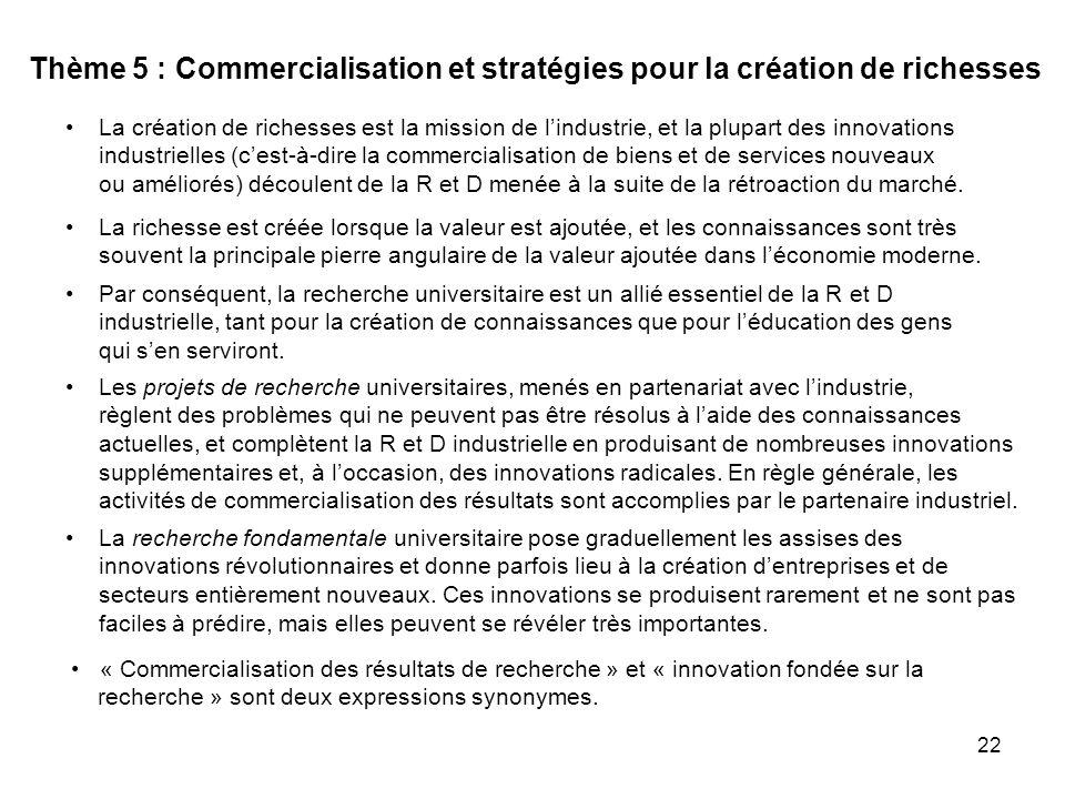 22 Thème 5 : Commercialisation et stratégies pour la création de richesses Par conséquent, la recherche universitaire est un allié essentiel de la R et D industrielle, tant pour la création de connaissances que pour léducation des gens qui sen serviront.